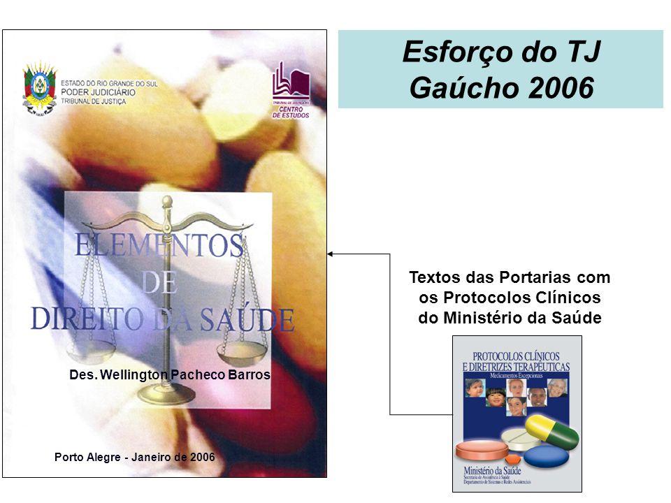 Textos das Portarias com os Protocolos Clínicos do Ministério da Saúde Porto Alegre - Janeiro de 2006 Des. Wellington Pacheco Barros Esforço do TJ Gaú