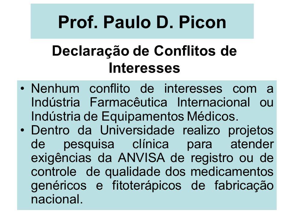 Prof. Paulo D. Picon Declaração de Conflitos de Interesses Nenhum conflito de interesses com a Indústria Farmacêutica Internacional ou Indústria de Eq
