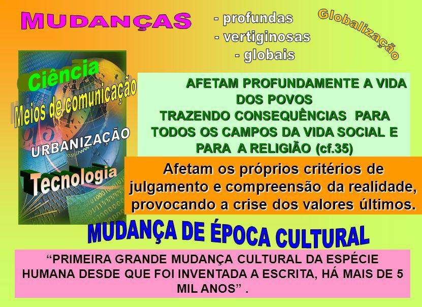 AFETAM PROFUNDAMENTE A VIDA DOS POVOS TRAZENDO CONSEQUÊNCIAS PARA TODOS OS CAMPOS DA VIDA SOCIAL E PARA A RELIGIÃO (cf.35) PRIMEIRA GRANDE MUDANÇA CULTURAL DA ESPÉCIE HUMANA DESDE QUE FOI INVENTADA A ESCRITA, HÁ MAIS DE 5 MIL ANOS .