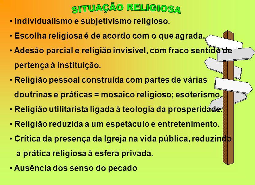 Individualismo e subjetivismo religioso.Escolha religiosa é de acordo com o que agrada.