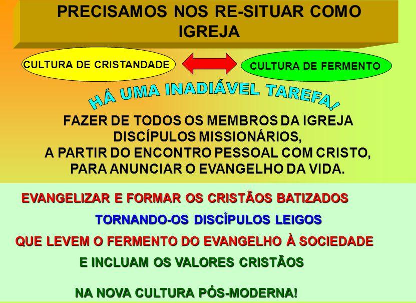 PRECISAMOS NOS RE-SITUAR COMO IGREJA EVANGELIZAR E FORMAR OS CRISTÃOS BATIZADOS TORNANDO-OS DISCÍPULOS LEIGOS QUE LEVEM O FERMENTO DO EVANGELHO À SOCIEDADE QUE LEVEM O FERMENTO DO EVANGELHO À SOCIEDADE E INCLUAM OS VALORES CRISTÃOS E INCLUAM OS VALORES CRISTÃOS NA NOVA CULTURA PÓS-MODERNA.