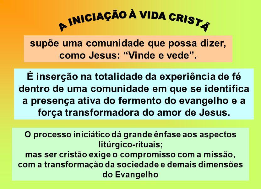 supõe uma comunidade que possa dizer, como Jesus: Vinde e vede .