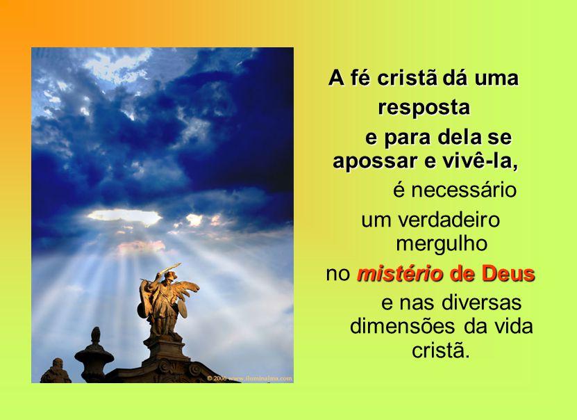 A fé cristã dá uma A fé cristã dá uma resposta resposta e para dela se apossar e vivê-la, e para dela se apossar e vivê-la, é necessário um verdadeiro mergulho mistério de Deus no mistério de Deus e nas diversas dimensões da vida cristã.