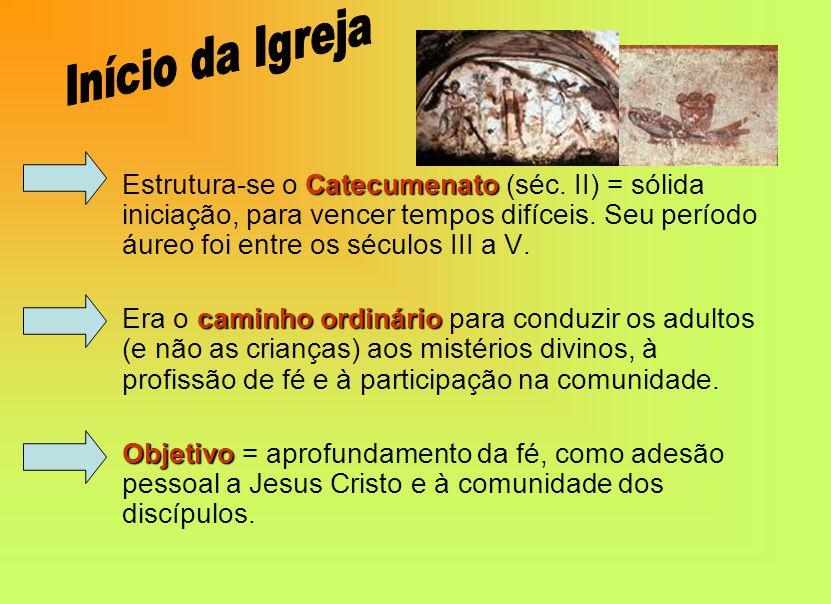 Catecumenato Estrutura-se o Catecumenato (séc.II) = sólida iniciação, para vencer tempos difíceis.