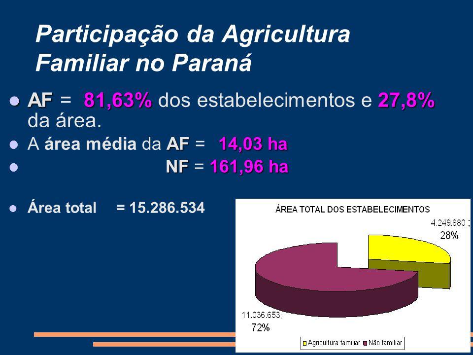 AF81,63%27,8% AF = 81,63% dos estabelecimentos e 27,8% da área. AF14,03 ha A área média da AF = 14,03 ha NF161,96 ha NF = 161,96 ha Área total = 15.28