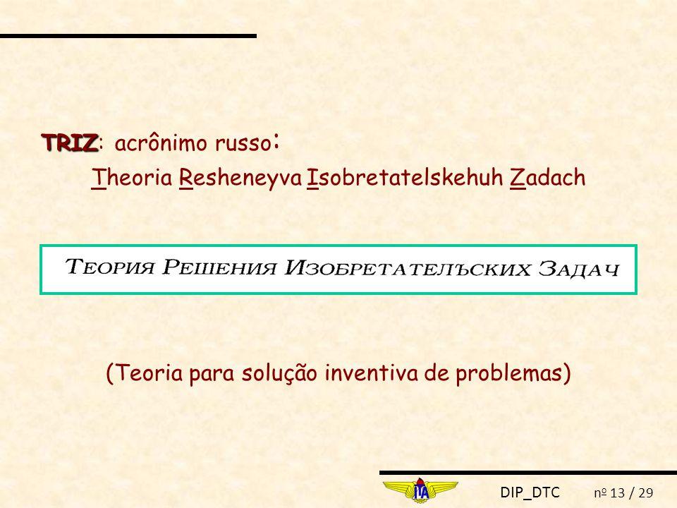 DIP_DTC n o 13 / 29 TRIZ TRIZ: acrônimo russo : Theoria Resheneyva Isobretatelskehuh Zadach (Teoria para solução inventiva de problemas)
