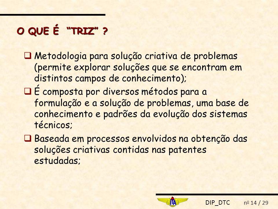 """DIP_DTC n o 14 / 29 O QUE É """"TRIZ"""" ?  Metodologia para solução criativa de problemas (permite explorar soluções que se encontram em distintos campos"""