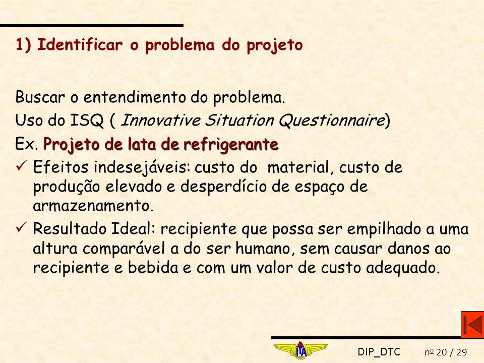 DIP_DTC n o 20 / 29 1) Identificar o problema do projeto Buscar o entendimento do problema. Uso do ISQ ( Innovative Situation Questionnaire) Projeto d