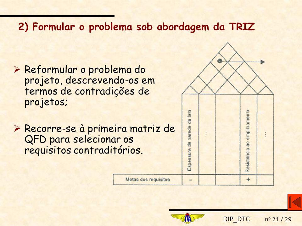 DIP_DTC n o 21 / 29 2) Formular o problema sob abordagem da TRIZ  Reformular o problema do projeto, descrevendo-os em termos de contradições de proje