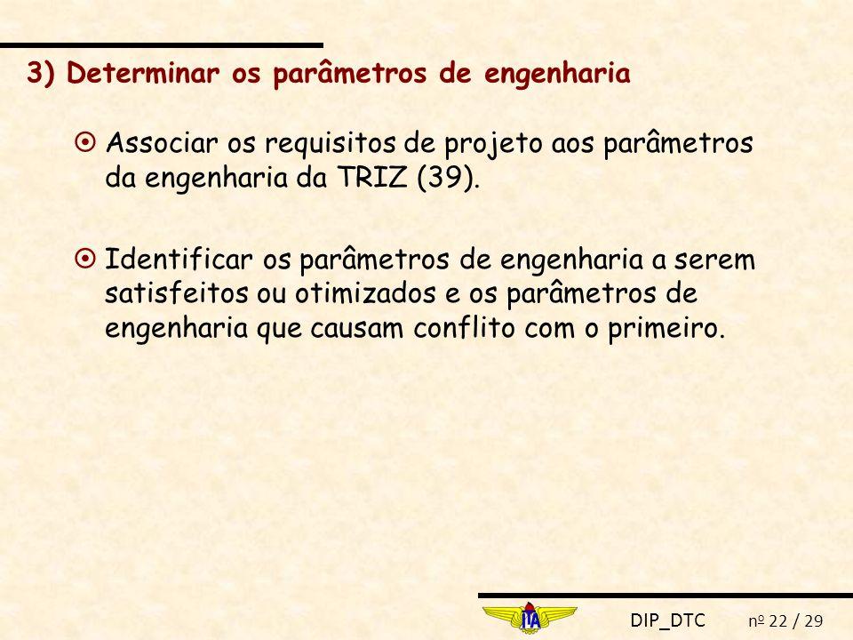DIP_DTC n o 22 / 29 3) Determinar os parâmetros de engenharia  Associar os requisitos de projeto aos parâmetros da engenharia da TRIZ (39).  Identif