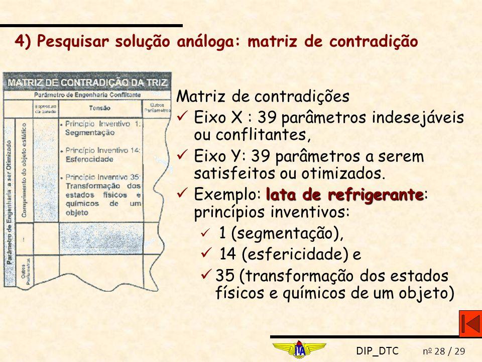 DIP_DTC n o 28 / 29 Matriz de contradições Eixo X : 39 parâmetros indesejáveis ou conflitantes, Eixo Y: 39 parâmetros a serem satisfeitos ou otimizado