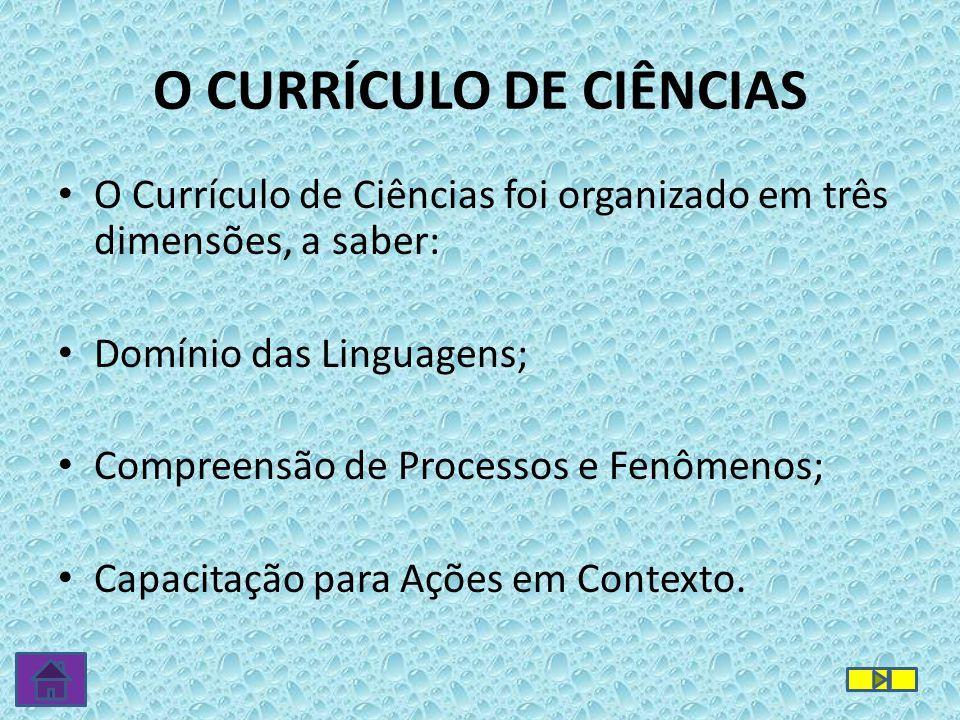 O CURRÍCULO DE CIÊNCIAS O Currículo de Ciências foi organizado em três dimensões, a saber: Domínio das Linguagens; Compreensão de Processos e Fenômenos; Capacitação para Ações em Contexto.