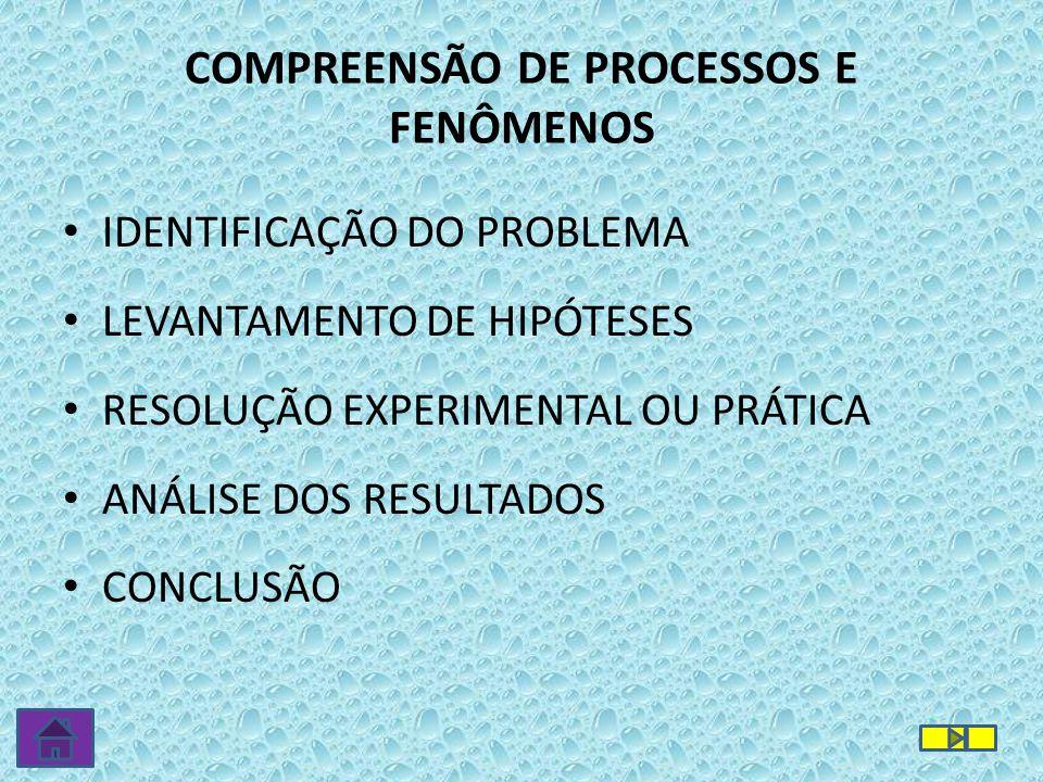 COMPREENSÃO DE PROCESSOS E FENÔMENOS IDENTIFICAÇÃO DO PROBLEMA LEVANTAMENTO DE HIPÓTESES RESOLUÇÃO EXPERIMENTAL OU PRÁTICA ANÁLISE DOS RESULTADOS CONCLUSÃO