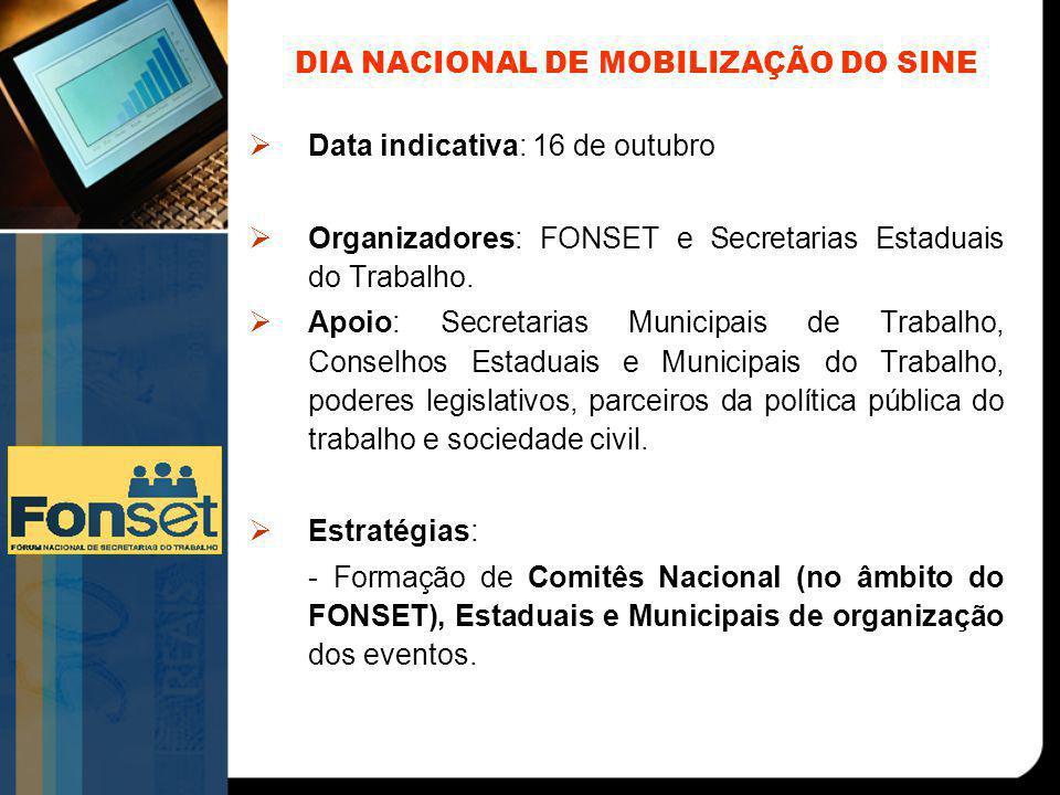 DIA NACIONAL DE MOBILIZAÇÃO DO SINE  Data indicativa: 16 de outubro  Organizadores: FONSET e Secretarias Estaduais do Trabalho.