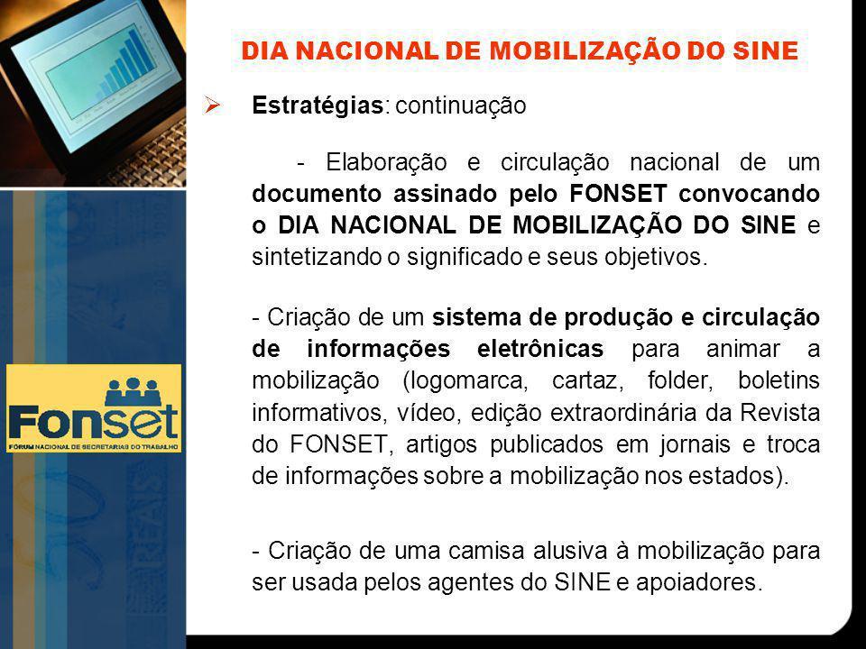 DIA NACIONAL DE MOBILIZAÇÃO DO SINE  Estratégias: continuação - Elaboração e circulação nacional de um documento assinado pelo FONSET convocando o DI