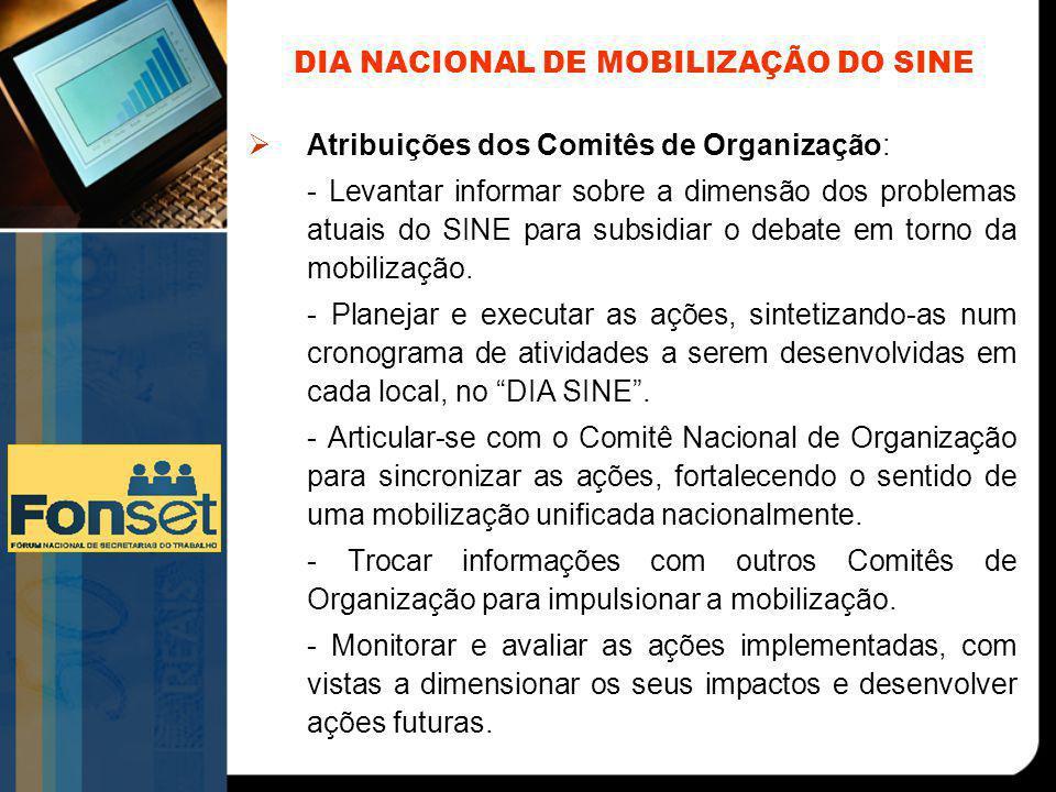 DIA NACIONAL DE MOBILIZAÇÃO DO SINE  Atribuições dos Comitês de Organização: - Levantar informar sobre a dimensão dos problemas atuais do SINE para subsidiar o debate em torno da mobilização.