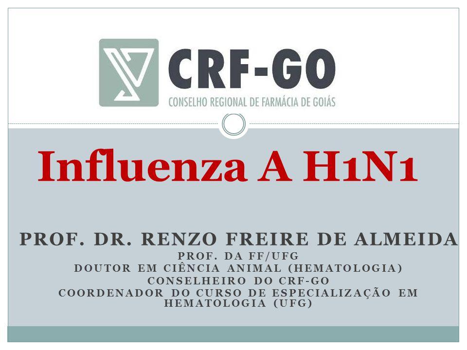 PROF. DR. RENZO FREIRE DE ALMEIDA PROF. DA FF/UFG DOUTOR EM CIÊNCIA ANIMAL (HEMATOLOGIA) CONSELHEIRO DO CRF-GO COORDENADOR DO CURSO DE ESPECIALIZAÇÃO