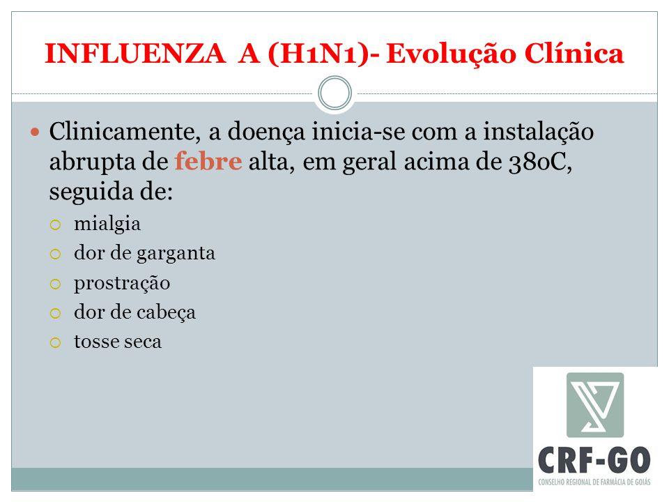 INFLUENZA A (H1N1)- Evolução Clínica Clinicamente, a doença inicia-se com a instalação abrupta de febre alta, em geral acima de 38oC, seguida de:  mi