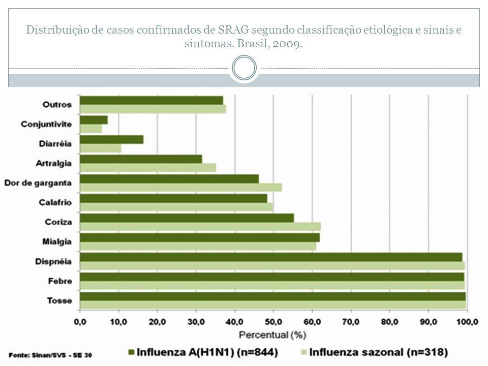Distribuição de casos confirmados de SRAG segundo classificação etiológica e sinais e sintomas.