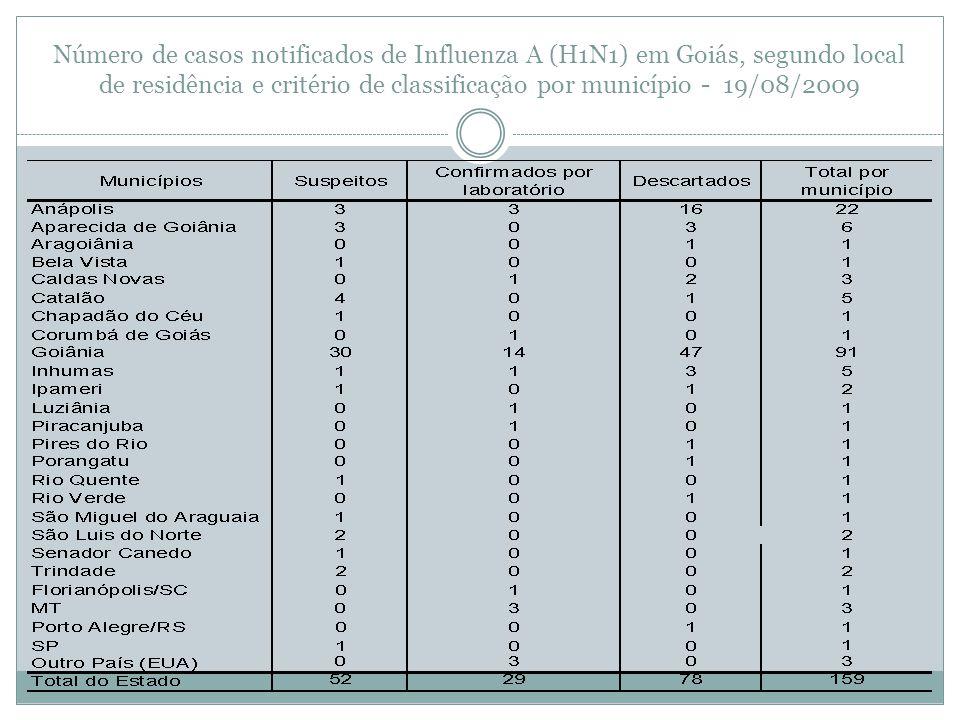 Número de casos notificados de Influenza A (H1N1) em Goiás, segundo local de residência e critério de classificação por município - 19/08/2009