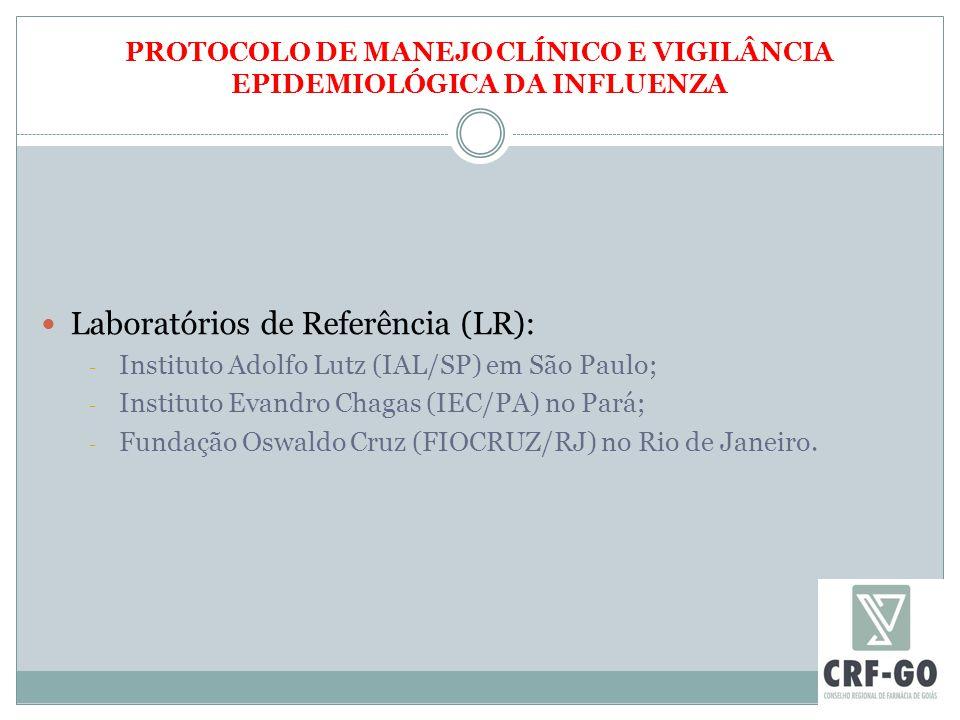 PROTOCOLO DE MANEJO CLÍNICO E VIGILÂNCIA EPIDEMIOLÓGICA DA INFLUENZA Laboratórios de Referência (LR): - Instituto Adolfo Lutz (IAL/SP) em São Paulo; - Instituto Evandro Chagas (IEC/PA) no Pará; - Fundação Oswaldo Cruz (FIOCRUZ/RJ) no Rio de Janeiro.