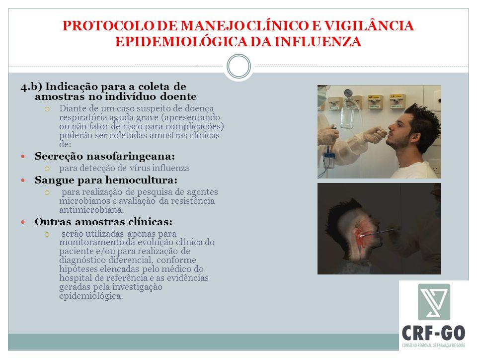 PROTOCOLO DE MANEJO CLÍNICO E VIGILÂNCIA EPIDEMIOLÓGICA DA INFLUENZA 4.b) Indicação para a coleta de amostras no indivíduo doente  Diante de um caso