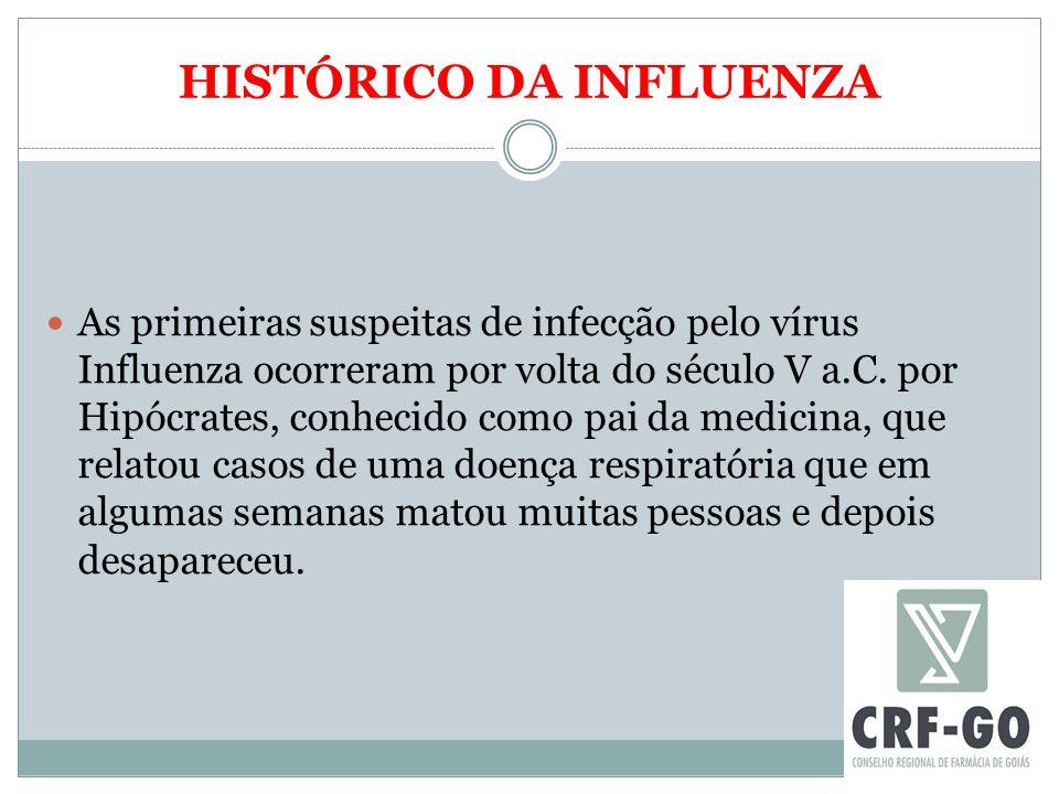 HISTÓRICO DA INFLUENZA As primeiras suspeitas de infecção pelo vírus Influenza ocorreram por volta do século V a.C. por Hipócrates, conhecido como pai