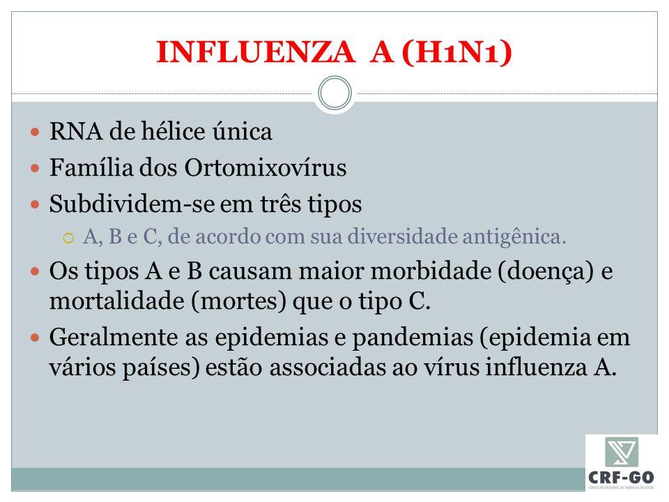 INFLUENZA A (H1N1) RNA de hélice única Família dos Ortomixovírus Subdividem-se em três tipos  A, B e C, de acordo com sua diversidade antigênica.