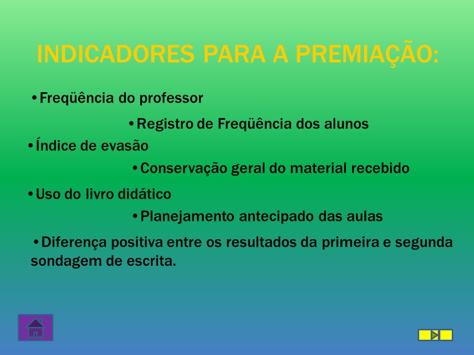 PREMIAÇÃO SERÃO PREMIADOS: – PROFESSOR COM MAIOR PONTUAÇÃO – COORDENADOR PEDAGÓGICO – DIRETOR DA ESCOLA