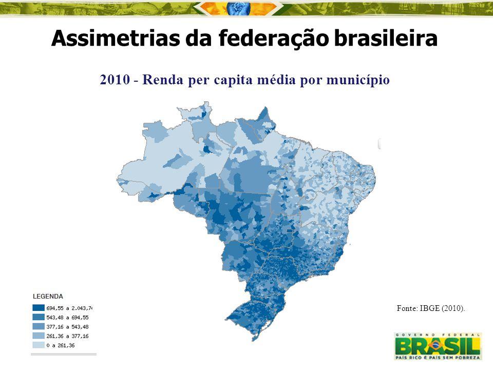 2010 - Renda per capita média por município Assimetrias da federação brasileira Fonte: IBGE (2010).
