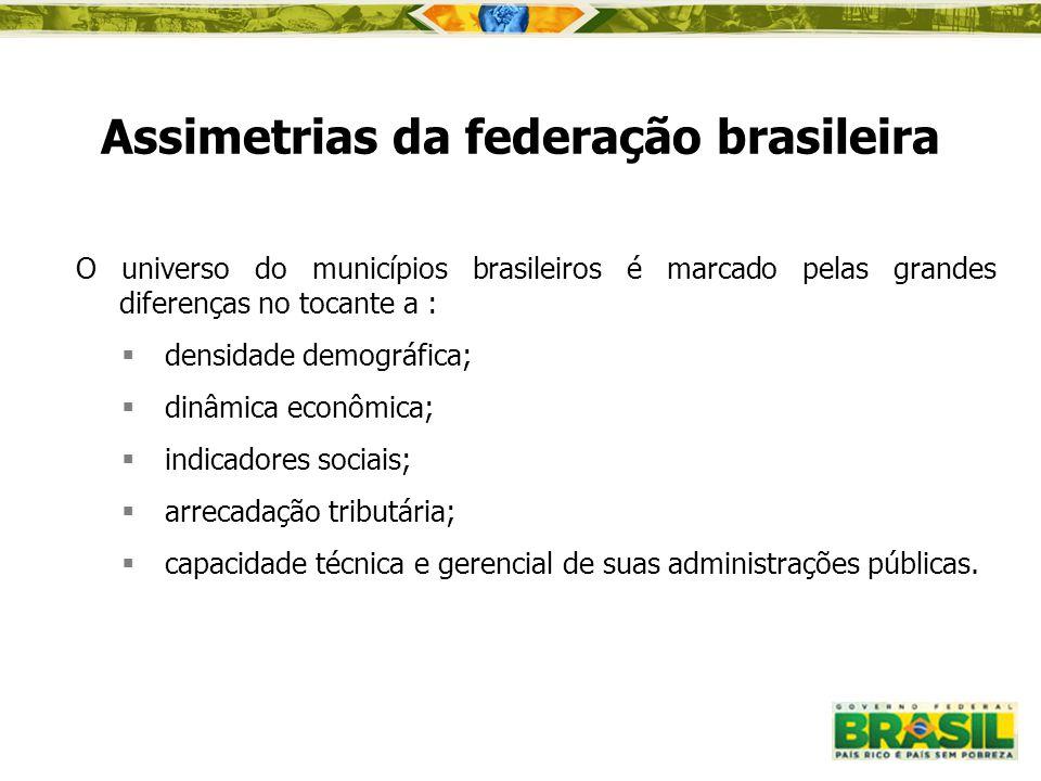 Assimetrias da federação brasileira O universo do municípios brasileiros é marcado pelas grandes diferenças no tocante a :  densidade demográfica; 