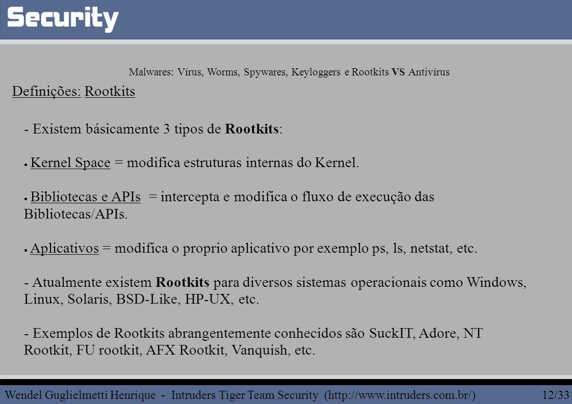 - Existem básicamente 3 tipos de Rootkits:  Kernel Space = modifica estruturas internas do Kernel.  Bibliotecas e APIs = intercepta e modifica o flu