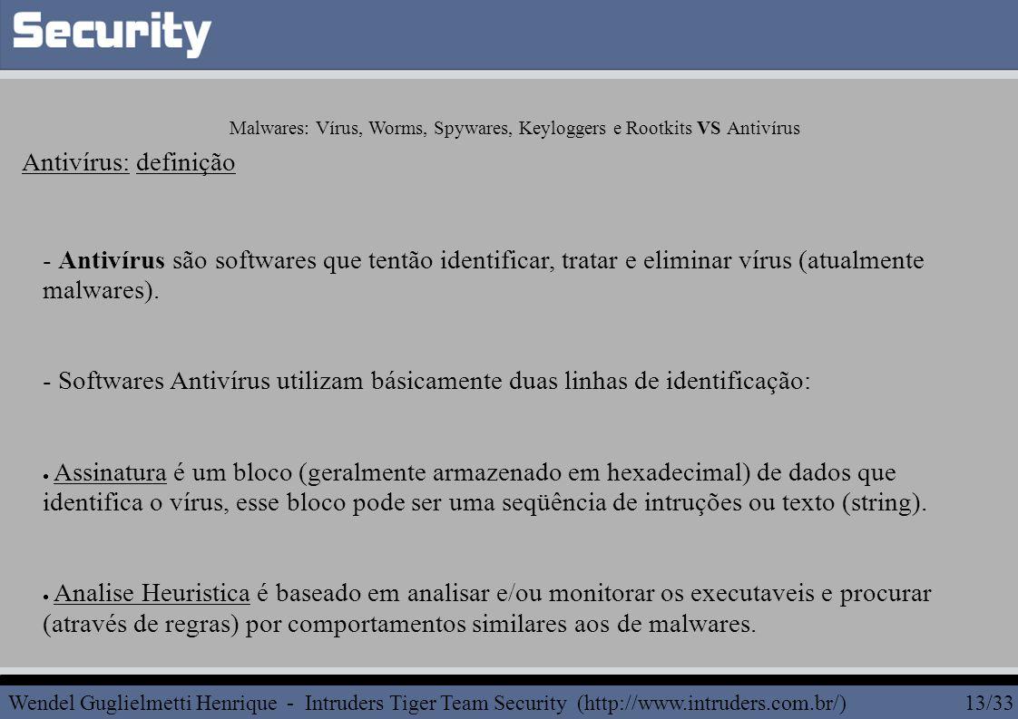 - Antivírus são softwares que tentão identificar, tratar e eliminar vírus (atualmente malwares).