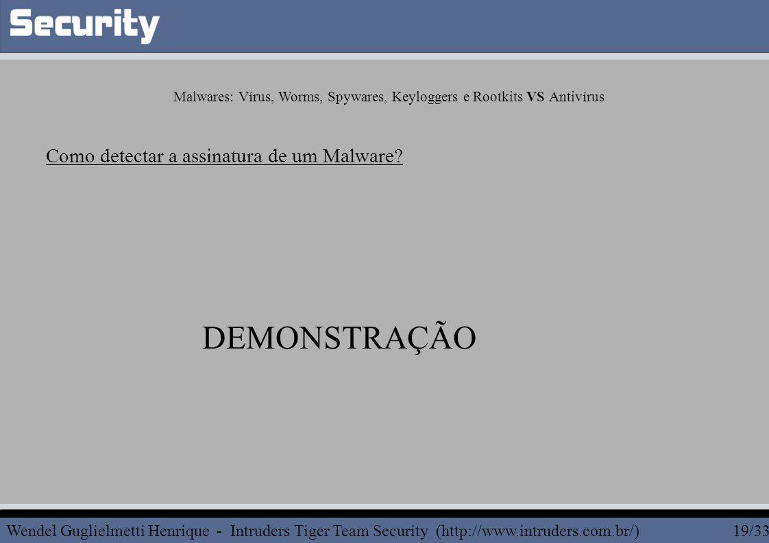 Wendel Guglielmetti Henrique - Intruders Tiger Team Security (http://www.intruders.com.br/) 19/33 Como detectar a assinatura de um Malware? DEMONSTRAÇ