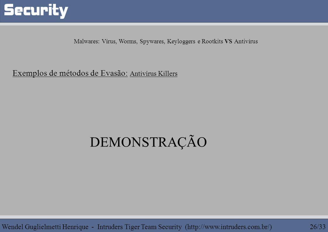 Malwares: Vírus, Worms, Spywares, Keyloggers e Rootkits VS Antivírus Exemplos de métodos de Evasão: Antivírus Killers DEMONSTRAÇÃO Wendel Guglielmetti