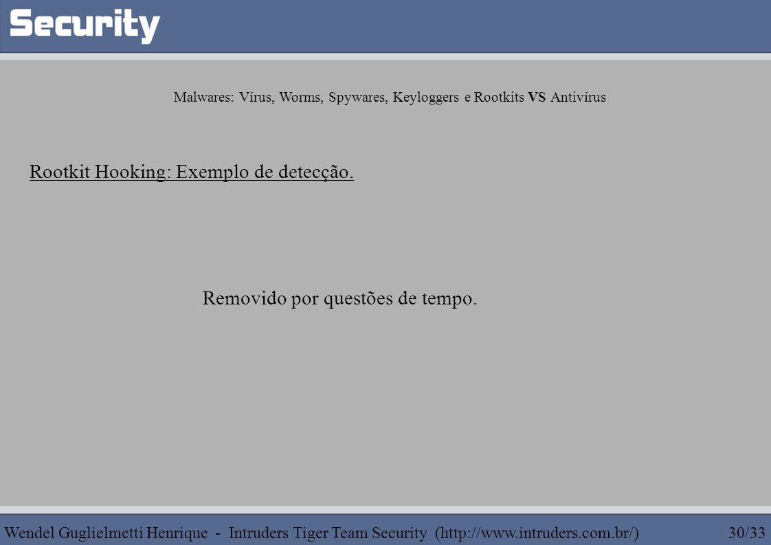 Malwares: Vírus, Worms, Spywares, Keyloggers e Rootkits VS Antivírus Rootkit Hooking: Exemplo de detecção.