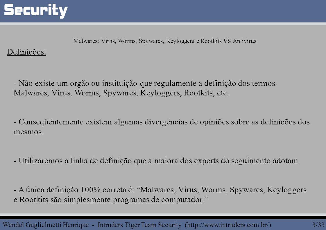 - Não existe um orgão ou instituição que regulamente a definição dos termos Malwares, Vírus, Worms, Spywares, Keyloggers, Rootkits, etc.