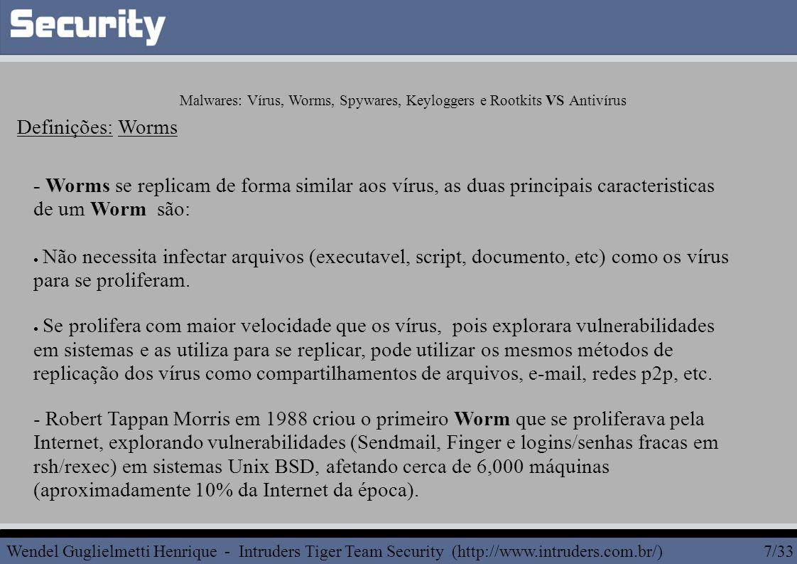 Malwares: Vírus, Worms, Spywares, Keyloggers e Rootkits VS Antivírus Rootkit Hooking: Exemplo de Processos Ocultos.