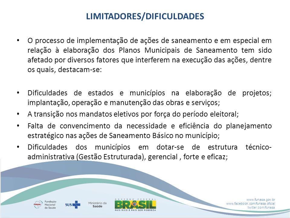 www.funasa.gov.br www.facebook.com/funasa.oficial twitter.com/funasa LIMITADORES/DIFICULDADES O processo de implementação de ações de saneamento e em