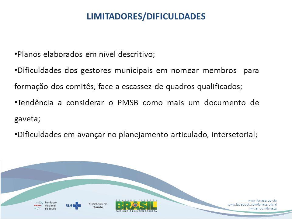 www.funasa.gov.br www.facebook.com/funasa.oficial twitter.com/funasa LIMITADORES/DIFICULDADES Planos elaborados em nível descritivo; Dificuldades dos