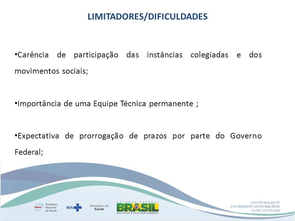 www.funasa.gov.br www.facebook.com/funasa.oficial twitter.com/funasa LIMITADORES/DIFICULDADES Carência de participação das instâncias colegiadas e dos movimentos sociais; Importância de uma Equipe Técnica permanente ; Expectativa de prorrogação de prazos por parte do Governo Federal;