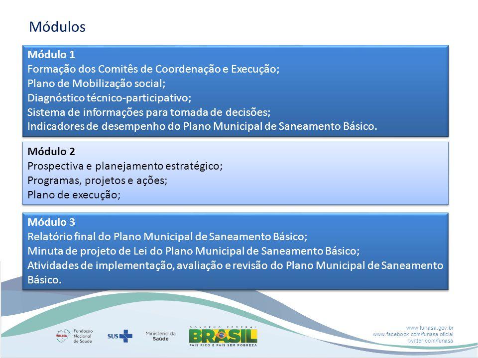 www.funasa.gov.br www.facebook.com/funasa.oficial twitter.com/funasa Módulos Módulo 1 Formação dos Comitês de Coordenação e Execução; Plano de Mobilização social; Diagnóstico técnico-participativo; Sistema de informações para tomada de decisões; Indicadores de desempenho do Plano Municipal de Saneamento Básico.