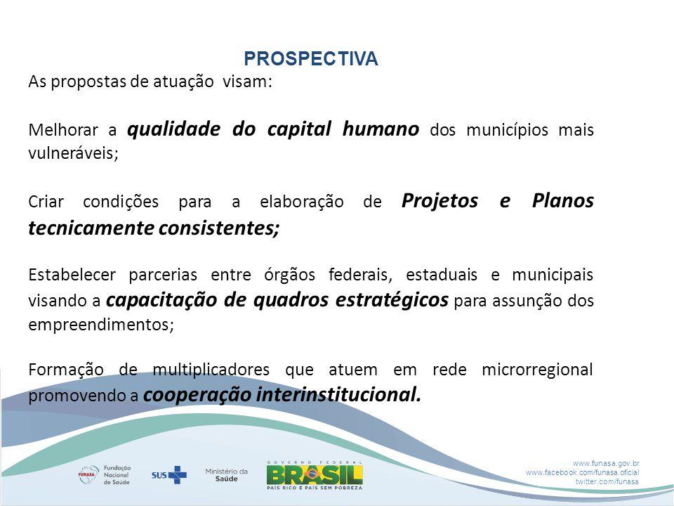 www.funasa.gov.br www.facebook.com/funasa.oficial twitter.com/funasa PROSPECTIVA As propostas de atuação visam: Melhorar a qualidade do capital humano
