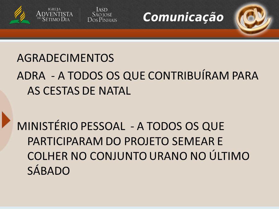 O Clube de Desbravadores Pinheiro agradece: A todos que colaboraram com o clube em 2010.