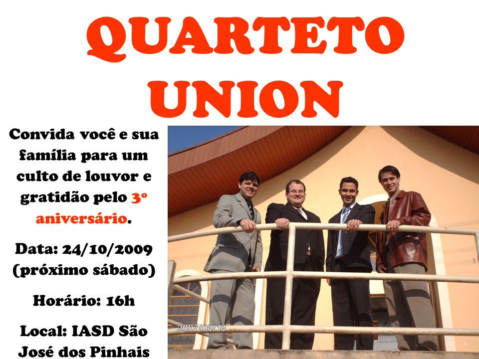 Convida você e sua família para um culto de louvor e gratidão pelo 3º aniversário. Data: 24/10/2009 (próximo sábado) Horário: 16h Local: IASD São José