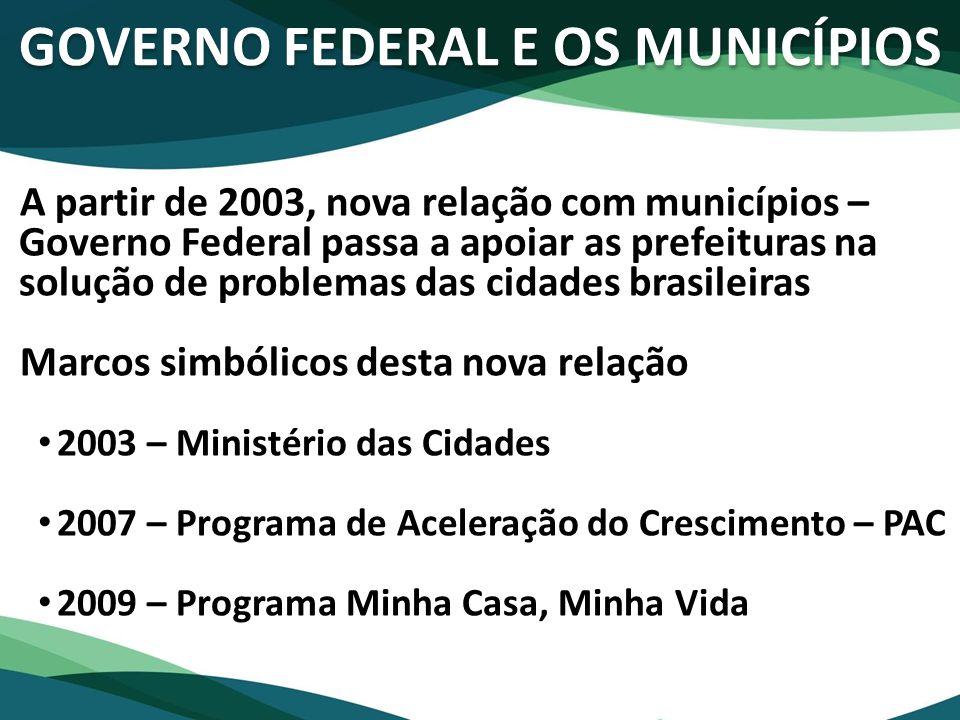 GOVERNO FEDERAL E OS MUNICÍPIOS A partir de 2003, nova relação com municípios – Governo Federal passa a apoiar as prefeituras na solução de problemas