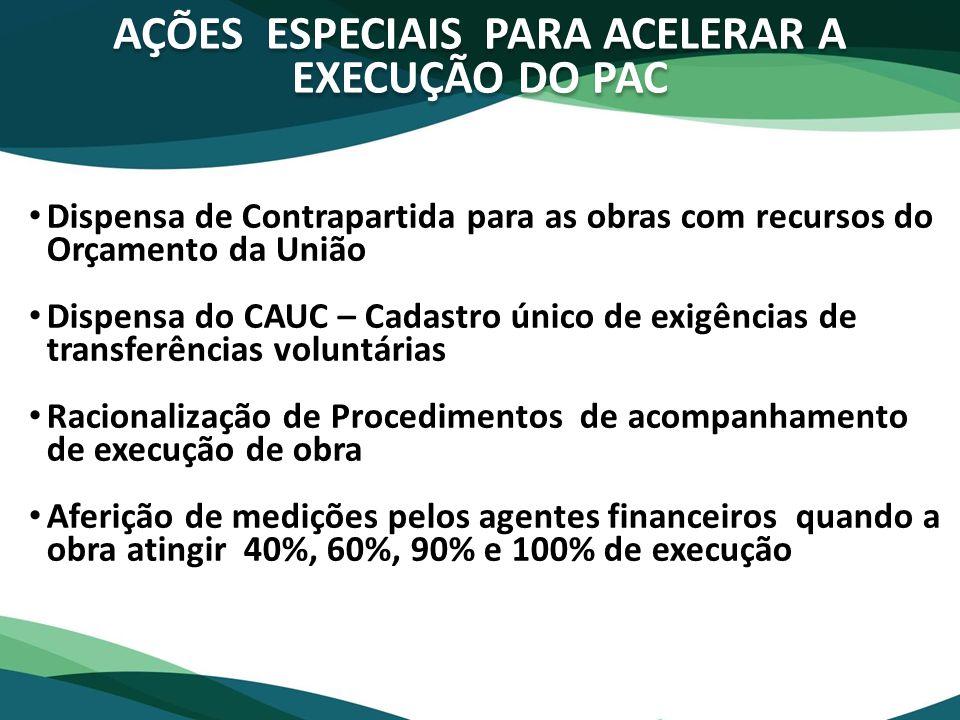 AÇÕES ESPECIAIS PARA ACELERAR A EXECUÇÃO DO PAC Dispensa de Contrapartida para as obras com recursos do Orçamento da União Dispensa do CAUC – Cadastro