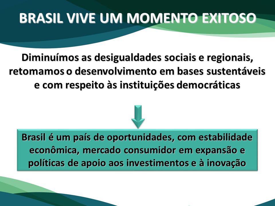 Diminuímos as desigualdades sociais e regionais, retomamos o desenvolvimento em bases sustentáveis e com respeito às instituições democráticas BRASIL
