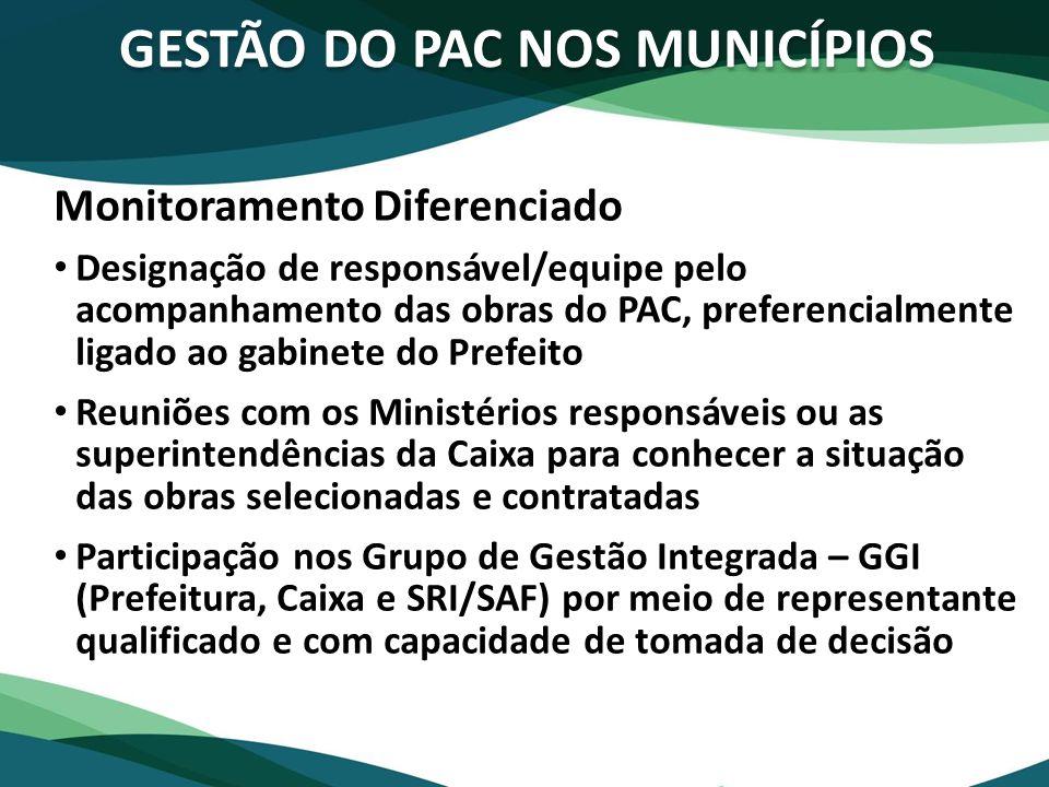 GESTÃO DO PAC NOS MUNICÍPIOS Monitoramento Diferenciado Designação de responsável/equipe pelo acompanhamento das obras do PAC, preferencialmente ligad