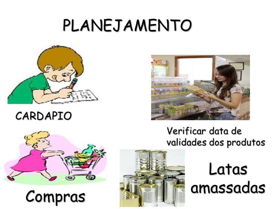 PLANEJAMENTO CARDAPIO Compras Verificar data de validades dos produtos Latas amassadas